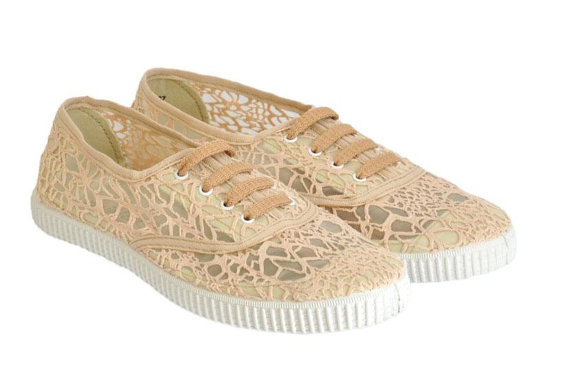 Sneakers miMaO 2106 Μπέζ δαντέλα