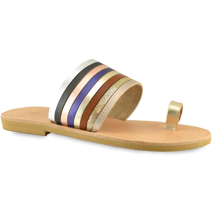 Δερμάτινη πολύχρωμη σαγιονάρα Tsakiris Sandals TS1016