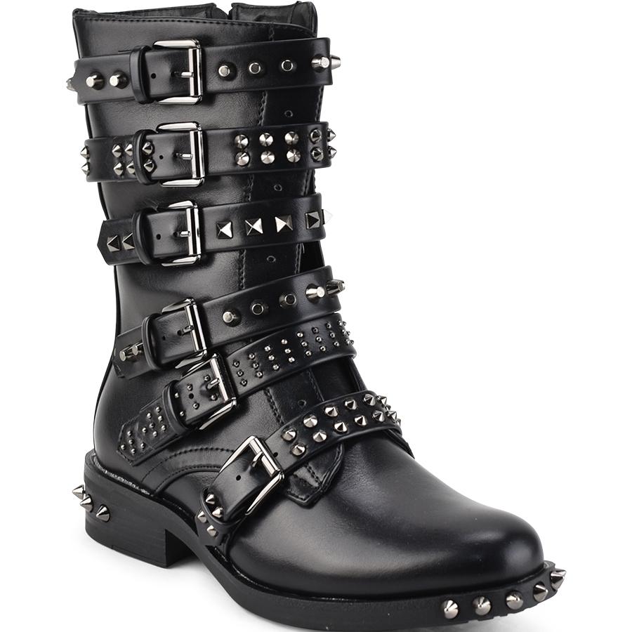 Μαύρα biker boots με τρουκς Forever Follie 1121