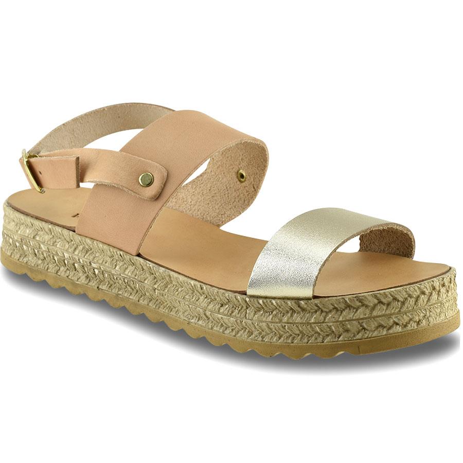 Nude με χρυσό flatform Lets Walk 1171