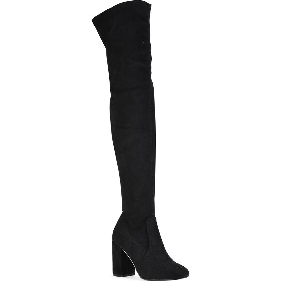 Μαύρη σουεντ μπότα πάνω απο το γόνατο 2691-2