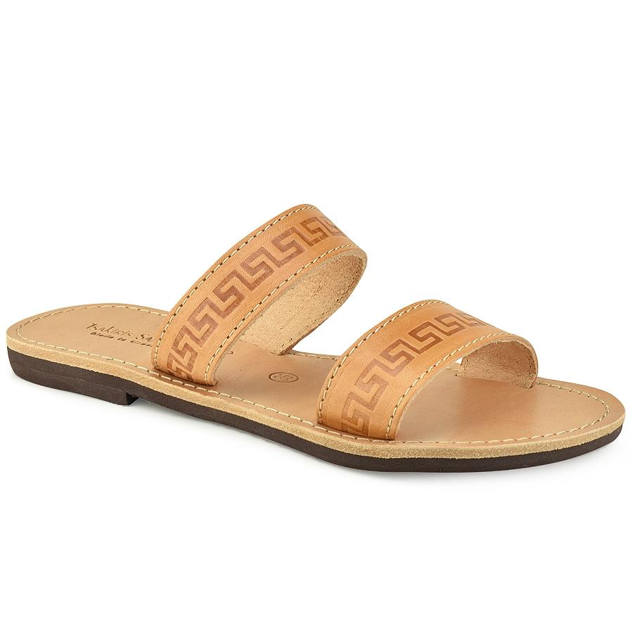 Δερμάτινη σαγιονάρα σε φυσικό χρώμα Tsakiris Sandals TS37