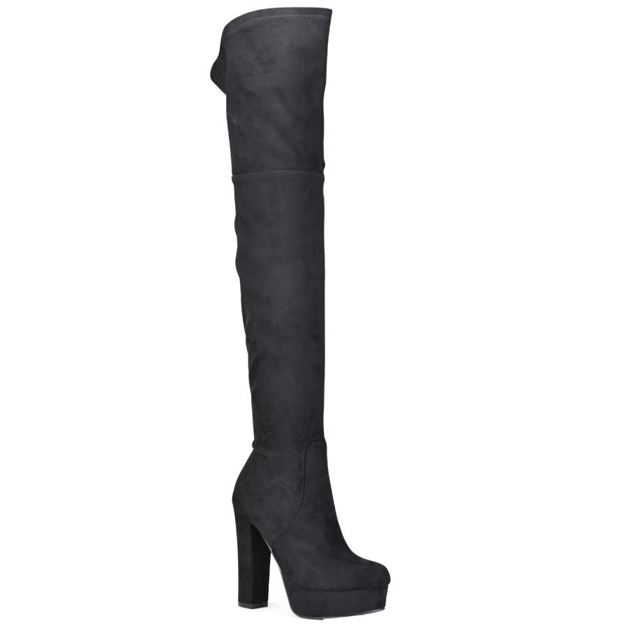 Μαύρη σουεντ μπότα πάνω απο το γόνατο L1X3888-1