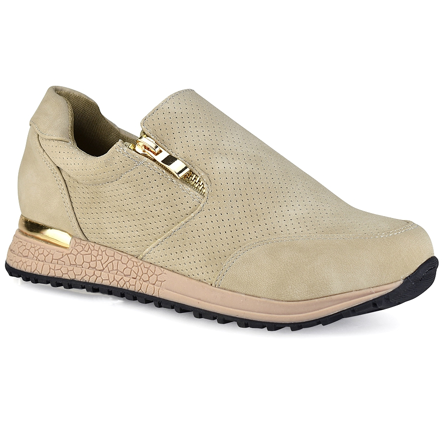 Μπεζ sneakers με φερμουάρ Let s Walk JN44-13 cfca7144f26
