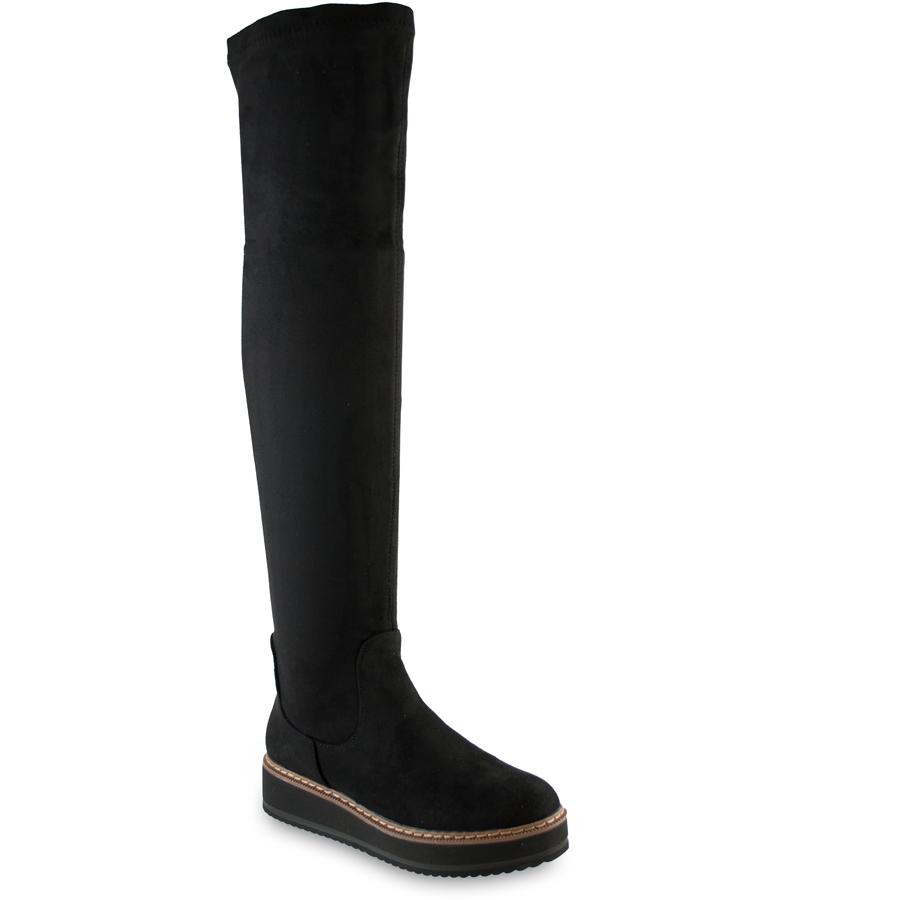 Μαύρη σουεντ μπότα πάνω απο το γόνατο 55-89