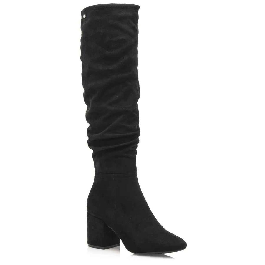 Μαύρη σουεντ μπότα με τακούνι MTNG 58446