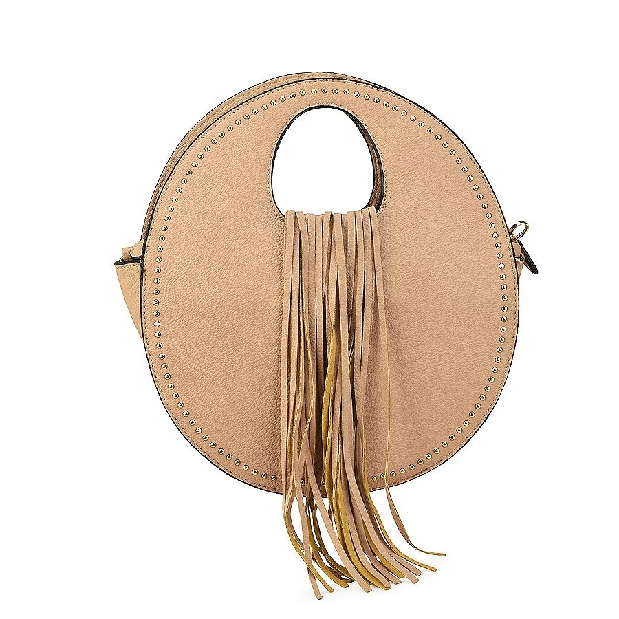 Μπεζ τσάντα χειρός με κρόσσια 6933