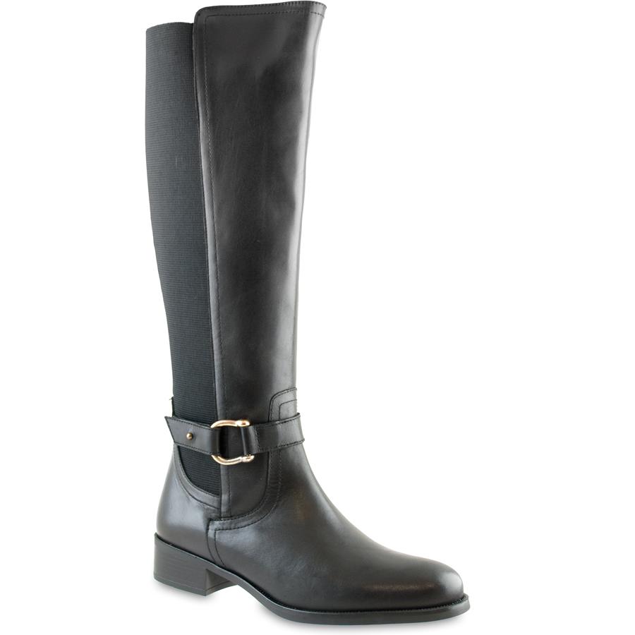 Μαύρη δερμάτινη μπότα Natalia Blanco 75184