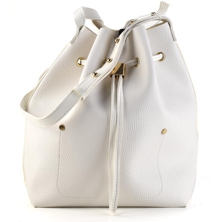 Λευκή τσάντα πουγκί Fraless 9376