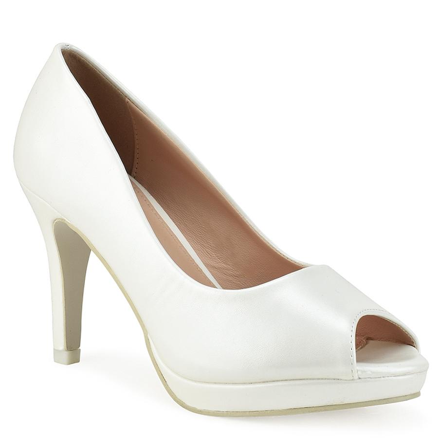 Λευκή γόβα peep toe A1-0086H