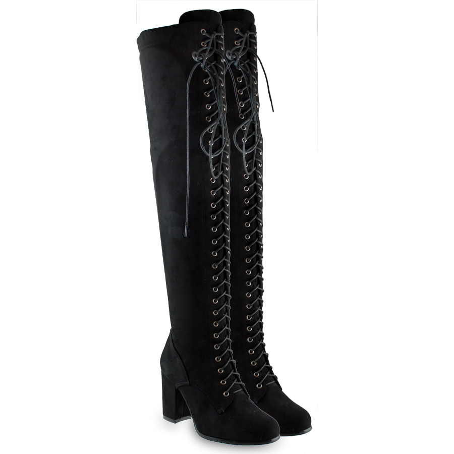 Μαύρη μπότα με κορδόνια B7583