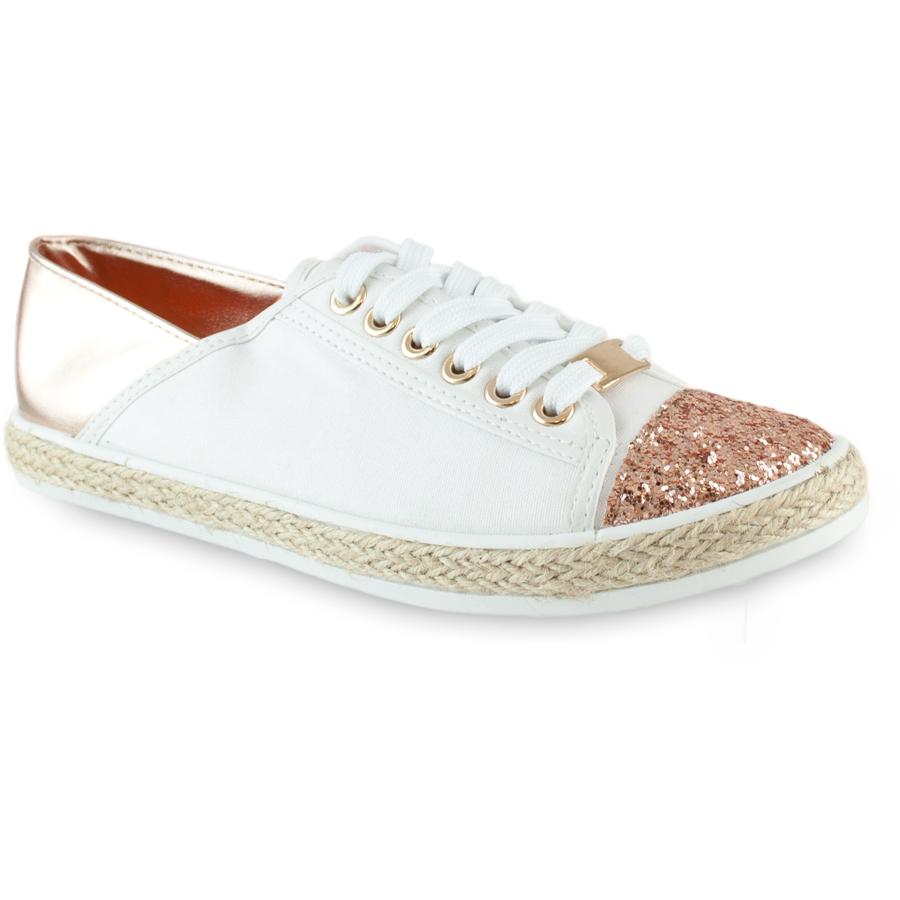 Λευκά sneakers με χάλκινες λεπτομέριες BK302