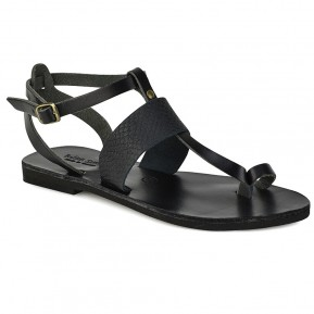 9919aa2012a Δερμάτινο μαύρο κροκό σανδάλι Tsakiris Sandals TS608