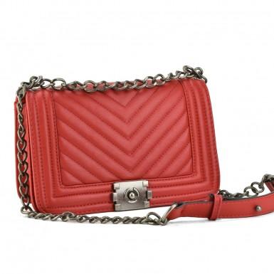 04ea2c8784 Κόκκινη τσάντα ώμου με αλυσίδα 2002