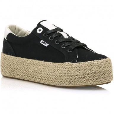 Νέο Μαύρο sneaker με ψάθα MTNG 69492 be4d792c4c6