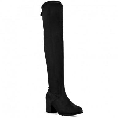 03770180bac Μαύρη σουέντ μπότα πάνω από το γόνατο JS108