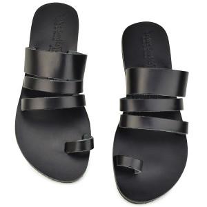 Δερμάτινη μαύρη σαγιονάρα Tsakiris Sandals TS1035
