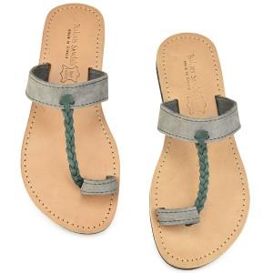 Δερμάτινη γκρί σαγιονάρα με πράσινη πλεξούδα Tsakiris Sandals TS127