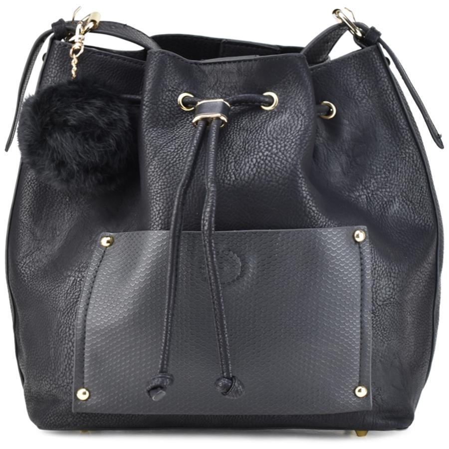 Μαύρη τσάντα πουγκί Dupla Feliciade DF1272