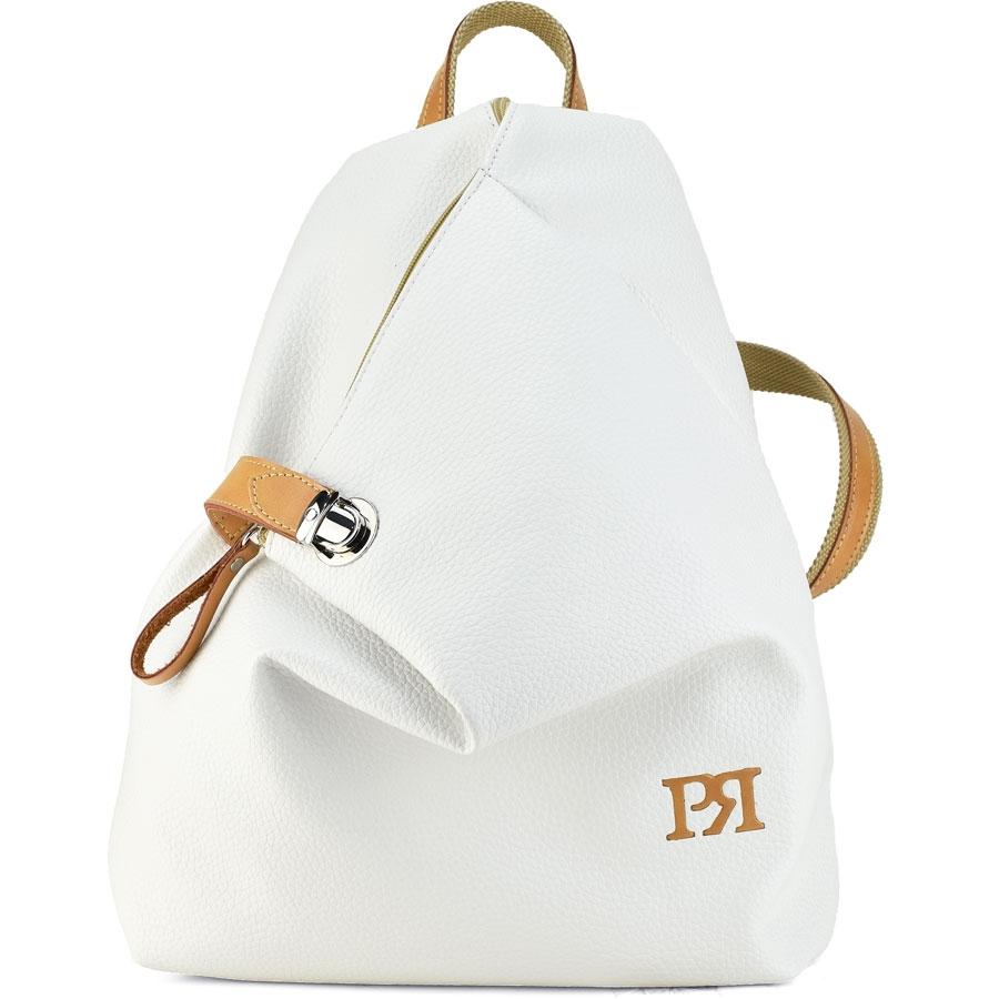 Λευκό eco-leather σακίδιο πλάτης Pierro Accessories 09517DL07 c1823813590