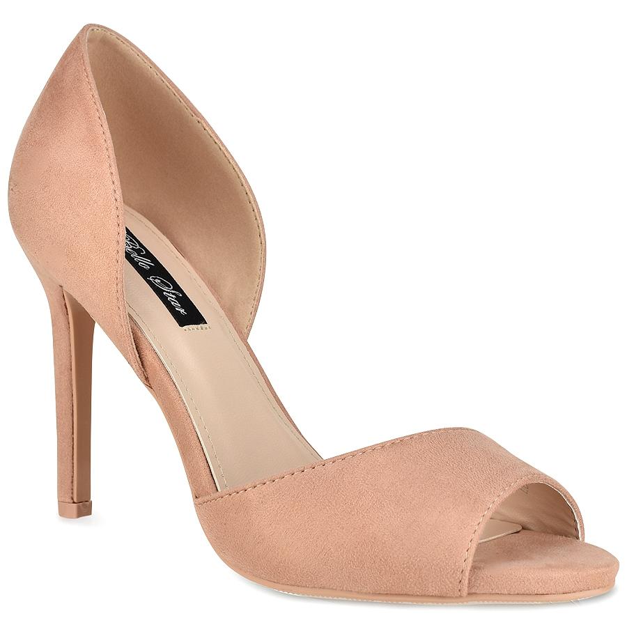 Ροζ γόβα peep toe L6107