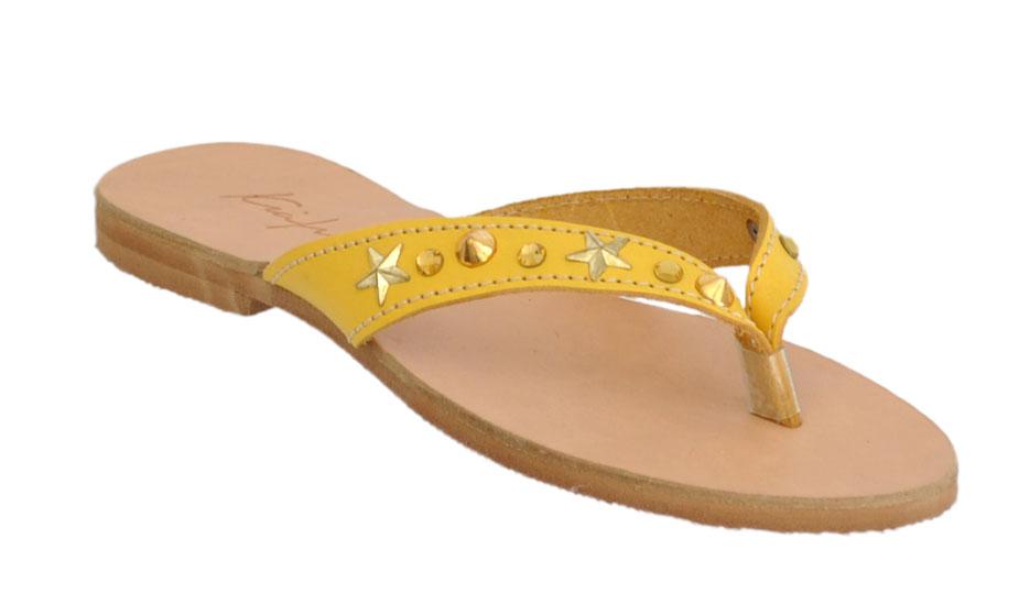 Δερμάτινη σαγιονάρα Κιάμος 10256-5 Κιτρινο