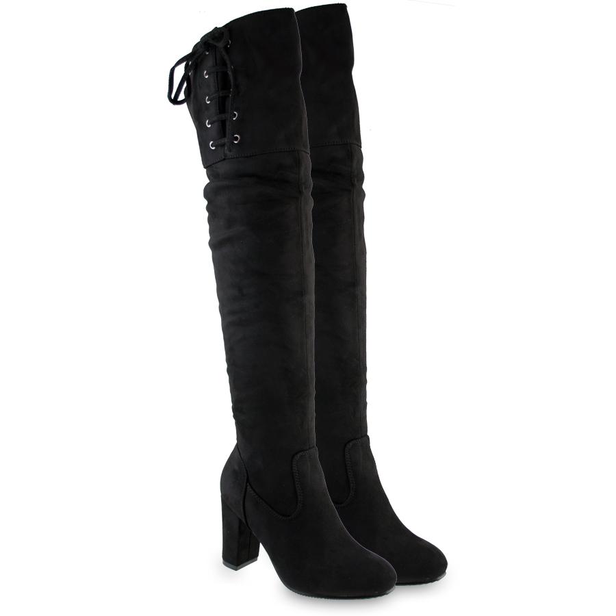 Μαύρη μπότα πάνω απο το γόνατο H656