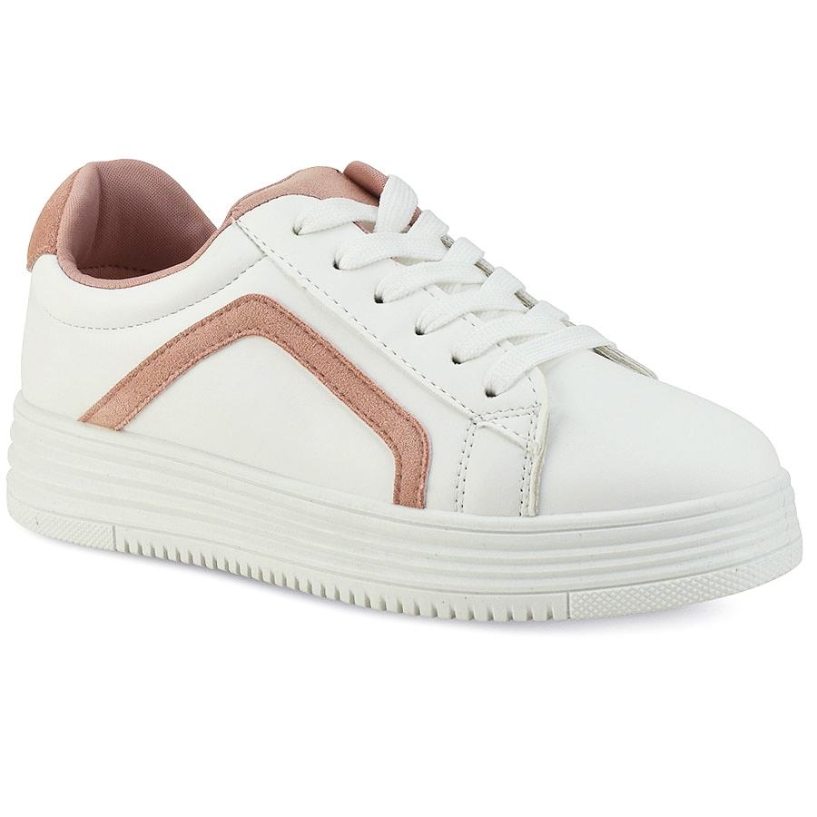 -10% Izyshoes Λευκό sneaker με ροζ λεπτομέρεια H99-33 503398287ac