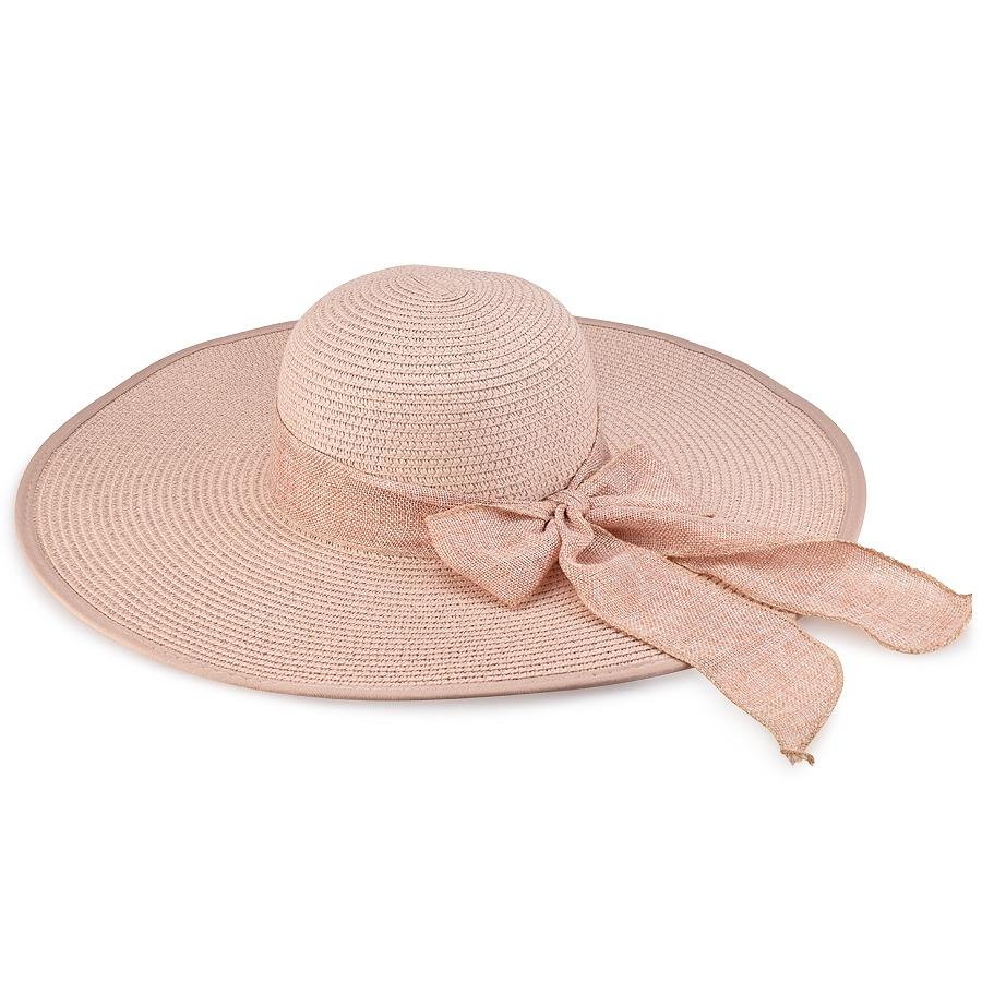 Ροζ γυναικείο ψάθινο καπέλο με κορδέλα