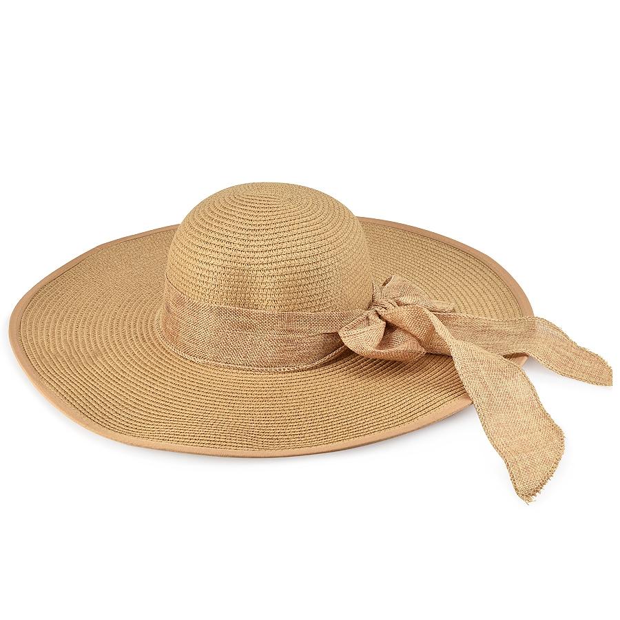 Καμελ γυναικείο ψάθινο καπέλο με κορδέλα