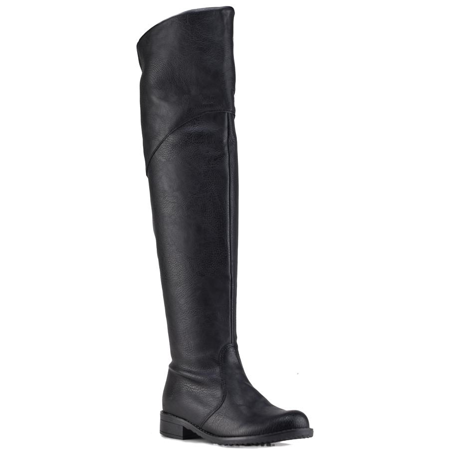 Μαύρη φλατ μπότα IOANNIS ID800