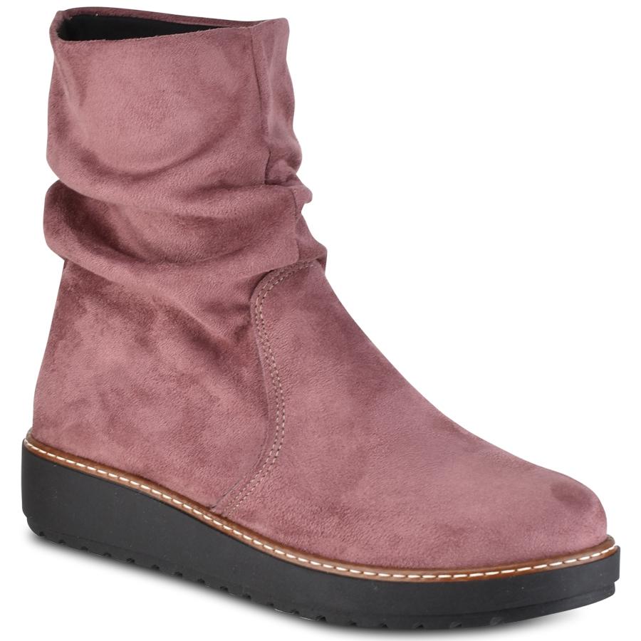 Ροζ φλατ σουεντ μποτάκια IOANNIS ID900