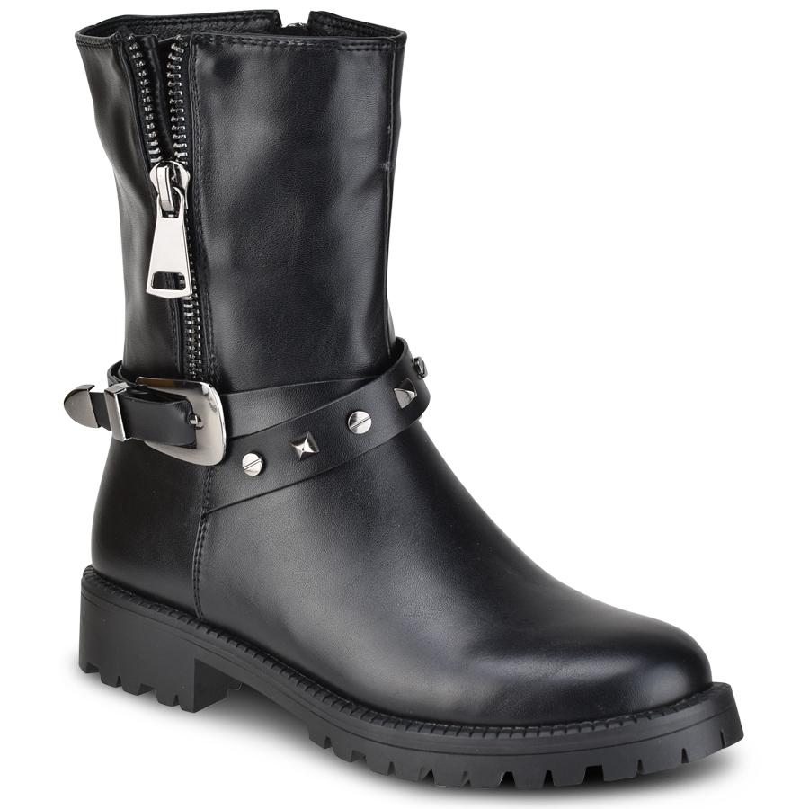 Μαύρα biker boots Lets Walk JN11-03