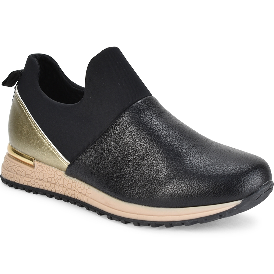 Μαύρο sneakers με λάστιχο Lets Walk JN44-04
