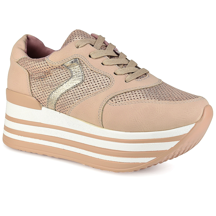 Nude δίπατα sneakers Let's Walk JN44-10