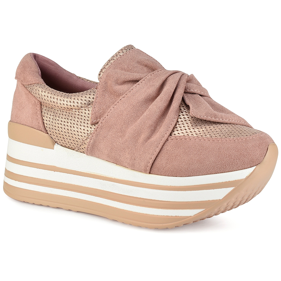 Ροζ δίπατα sneakers με φιόγκο Let s Walk JN44-11 637f8bdc126