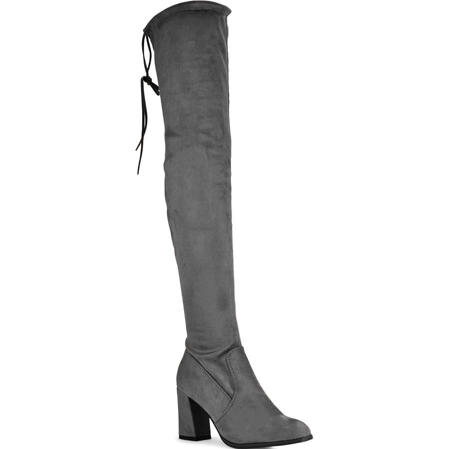 Γκρι σουεντ μπότα πάνω απο το γόνατο Lets Walk JN77-02