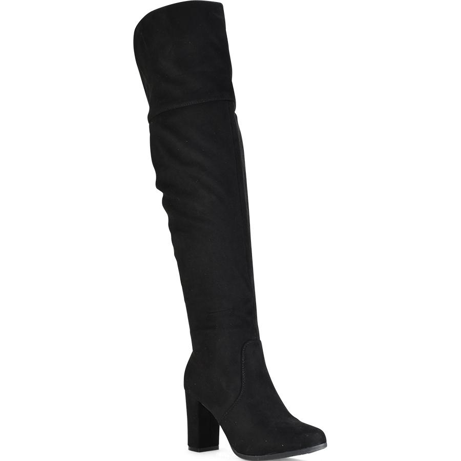 Μαύρη σουεντ μπότα πάνω απο το γόνατο Lets Walk JN77-05