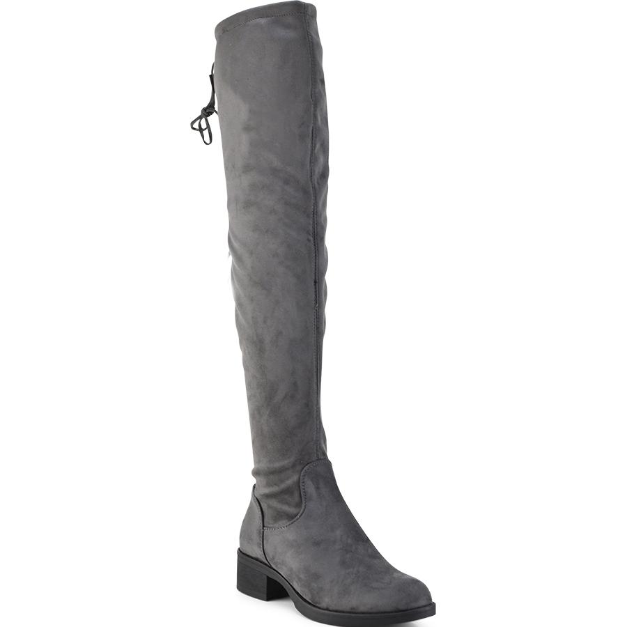 Γκρι σουεντ μπότα πάνω απο το γόνατο Lets Walk JN77-06