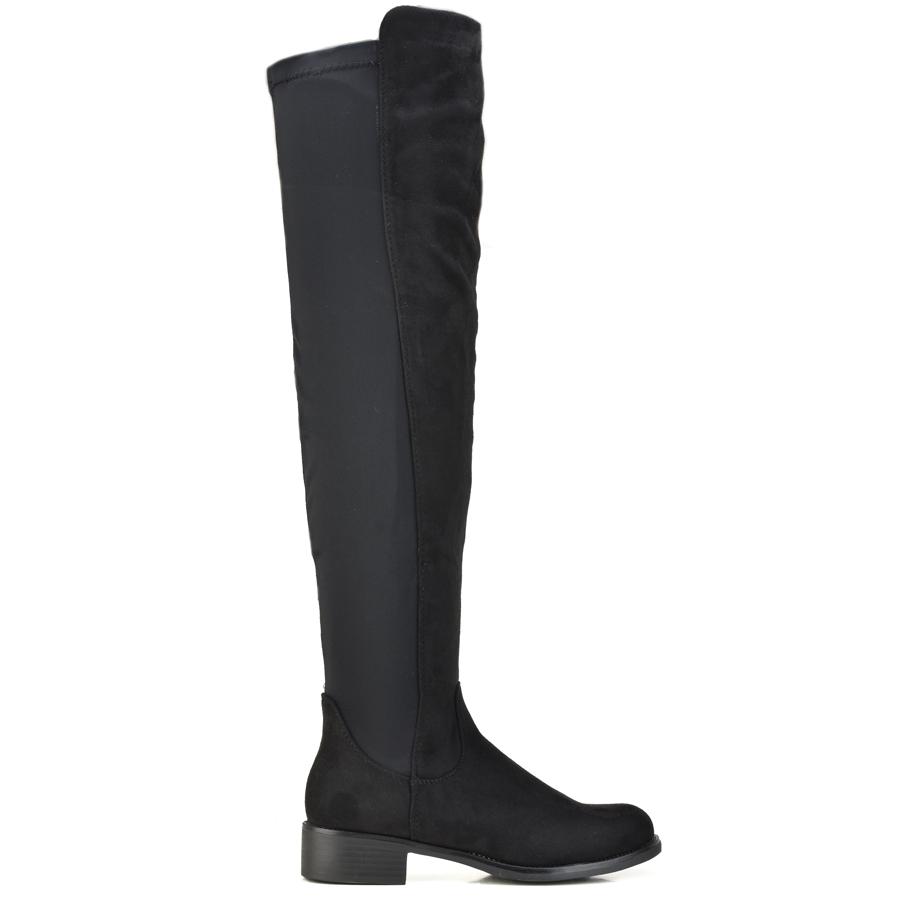 Μαύρη σουέντ μπότα πάνω από το γόνατο JS112