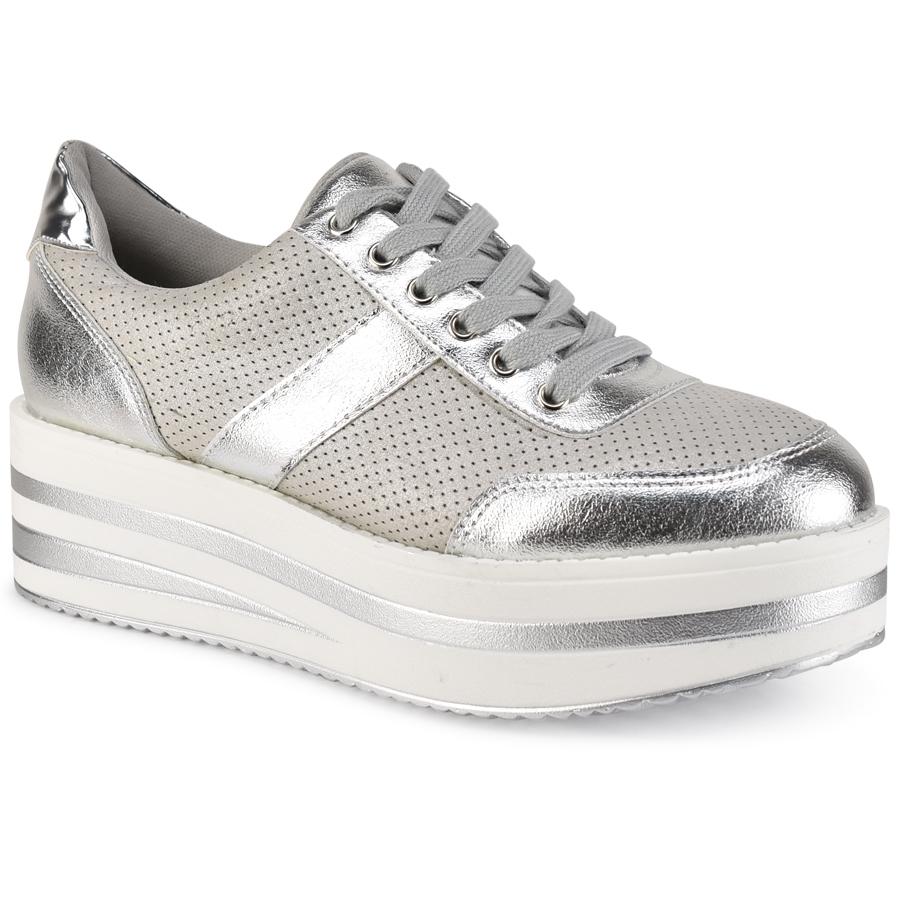 Ασημί μεταλλικά sneakers K7057