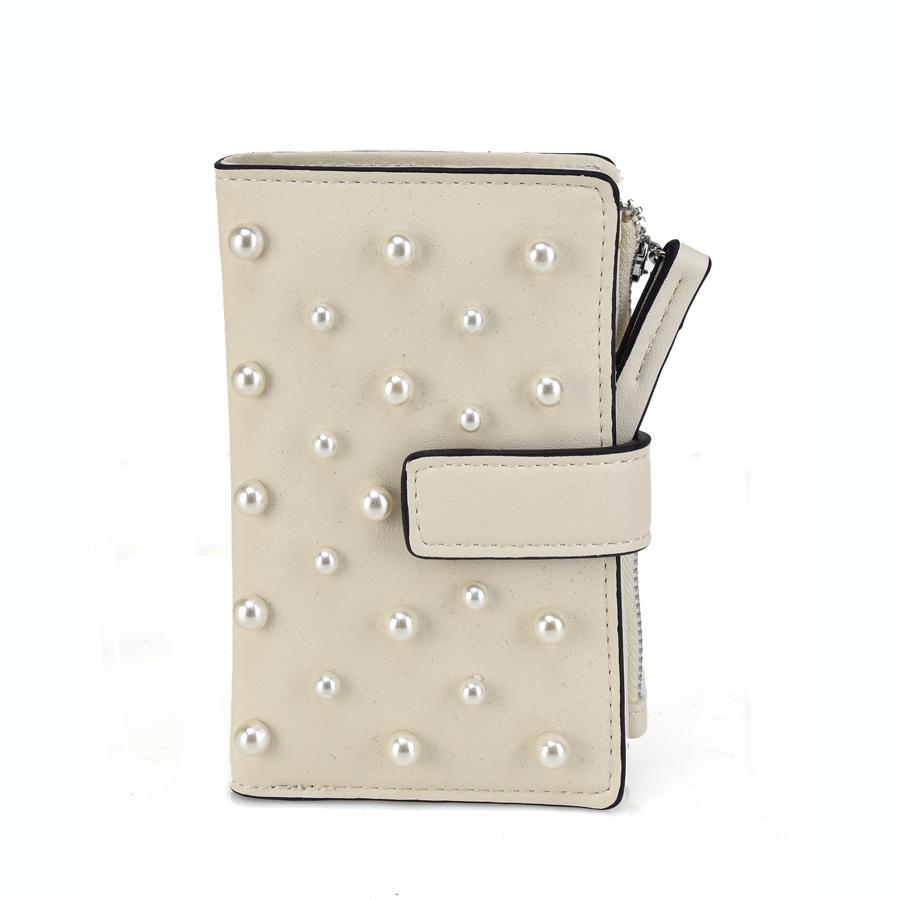 Μπεζ πορτοφόλι με πέρλες L172