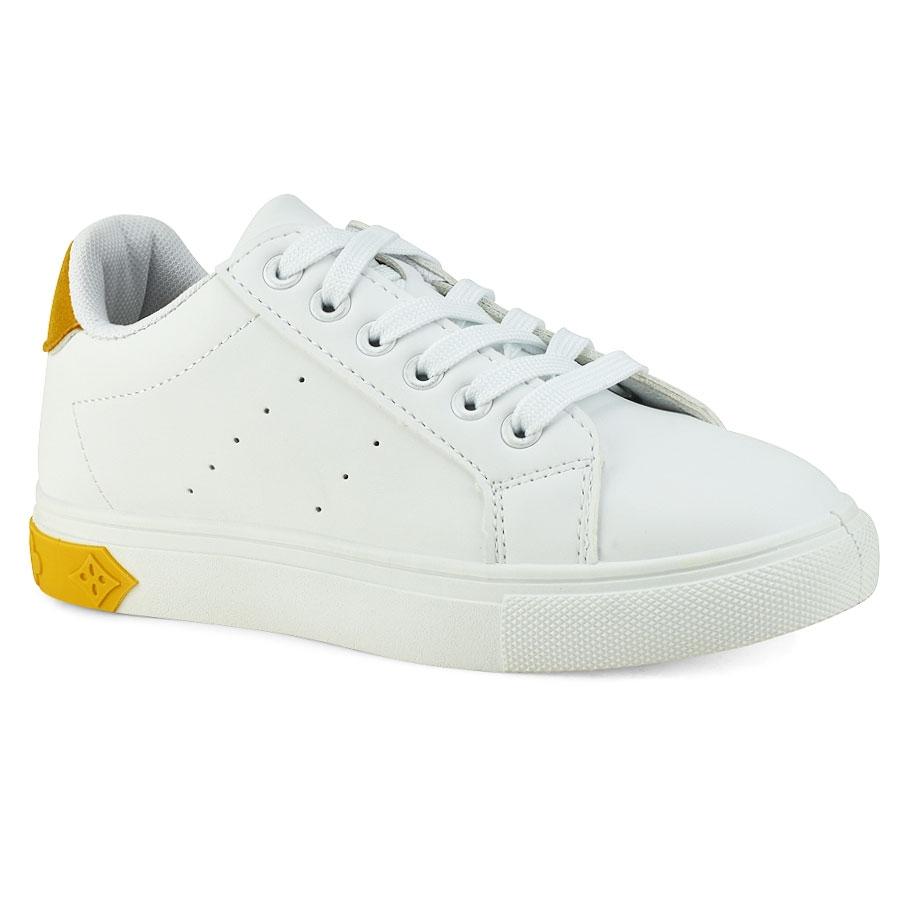 edc7baadb8e Λευκό sneaker με κίτρινη λεπτομέρεια M926