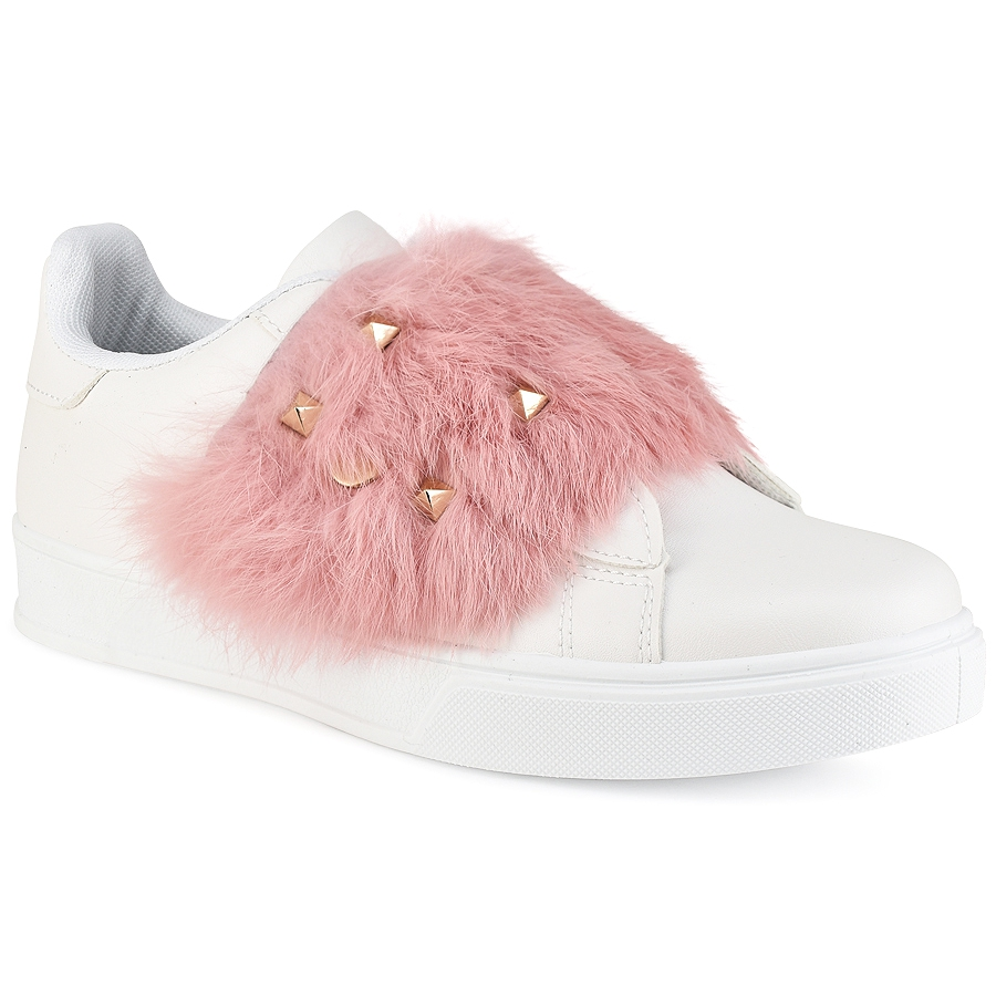 Λευκό sneakers με γουνάκι BM1933