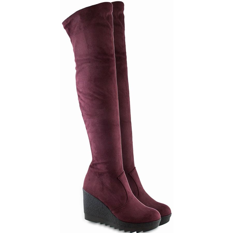 Mπορντώ μπότα με πλατφόρμα Beatrice R400