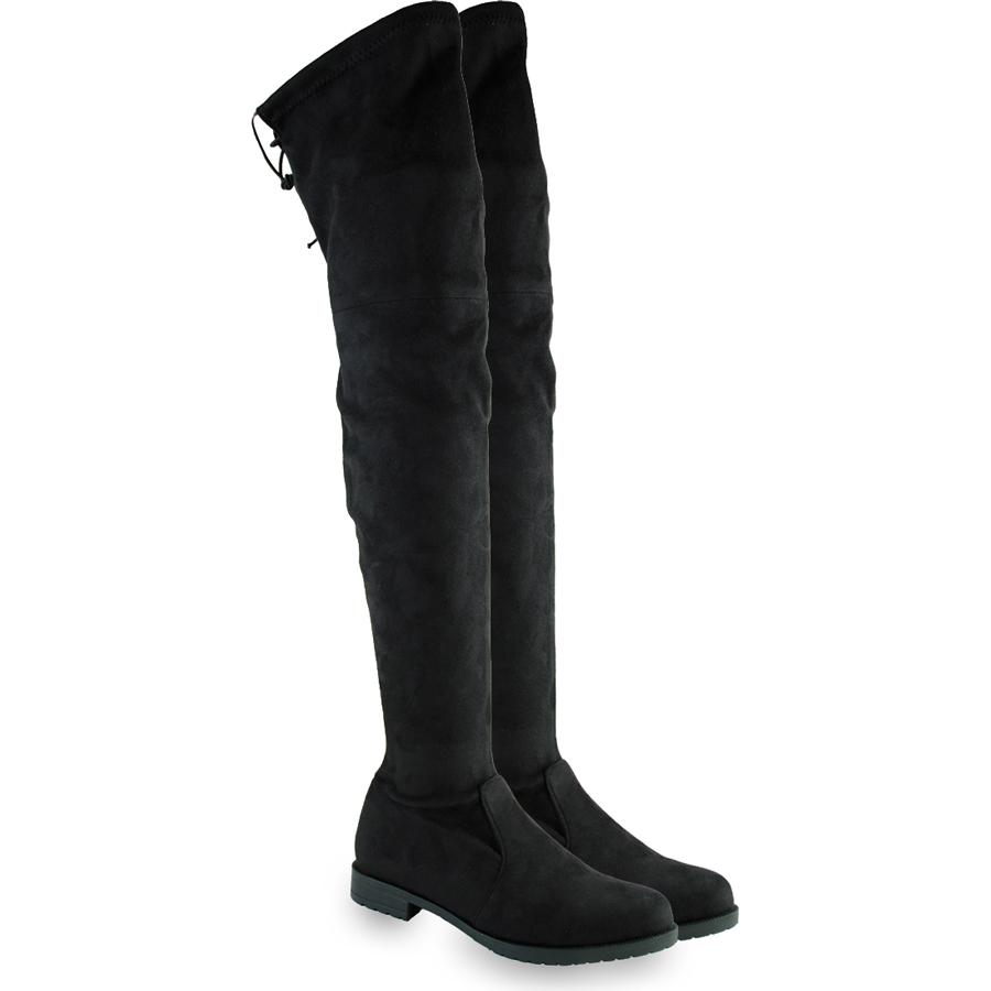 Μαύρη σουεντ μπότα πάνω απο το γόνατο Beatrice R70