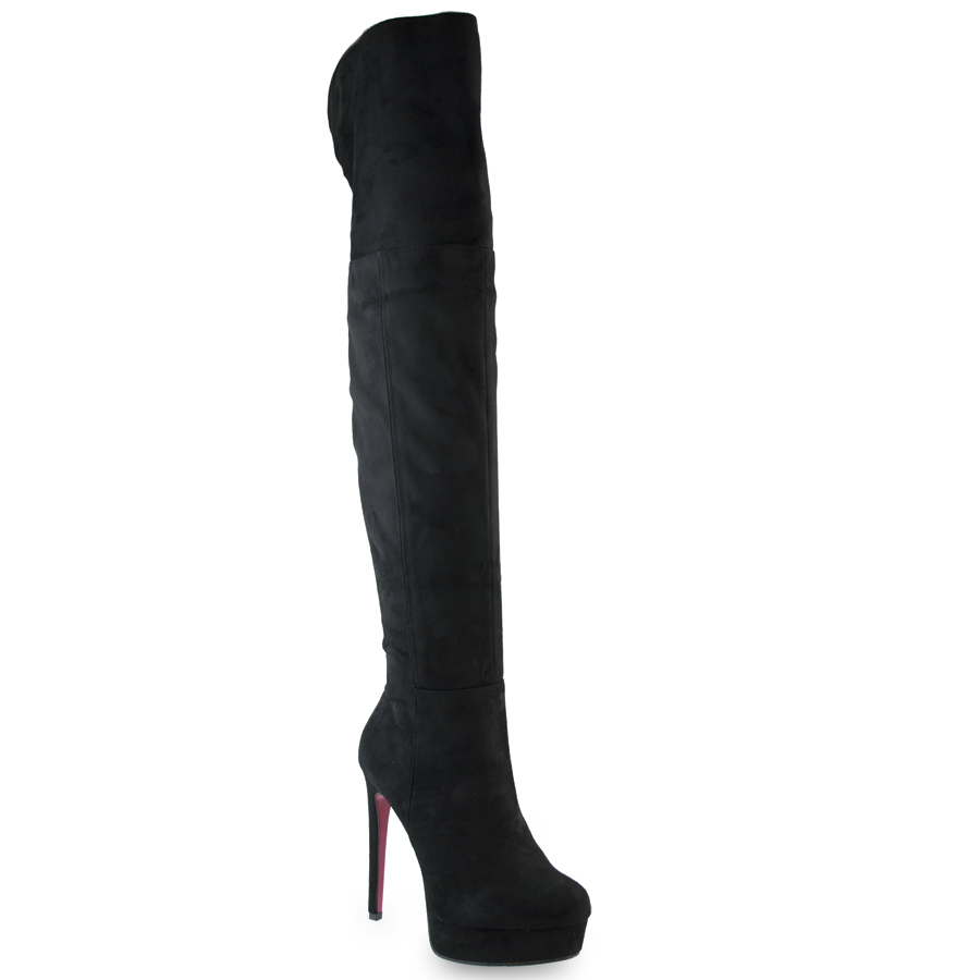 Μαύρη σουεντ μπότα πάνω απο το γόνατο SQ1616