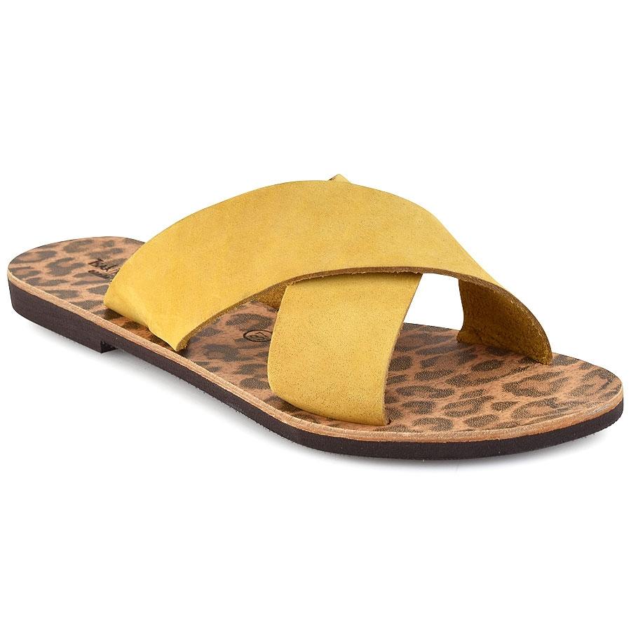 Δερμάτινη κίτρινη σαγιονάρα Tsakiris Sandals TS1001