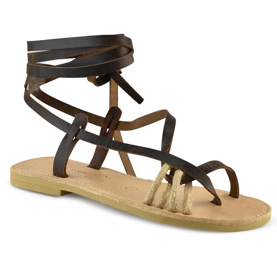 Δερμάτινo καφε σανδάλι Tsakiris Sandals TS1005