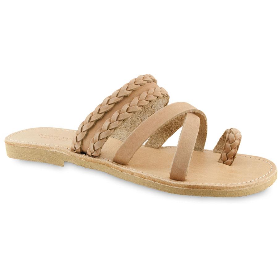 Δερμάτινη nude σαγιονάρα Tsakiris Sandals TS1009